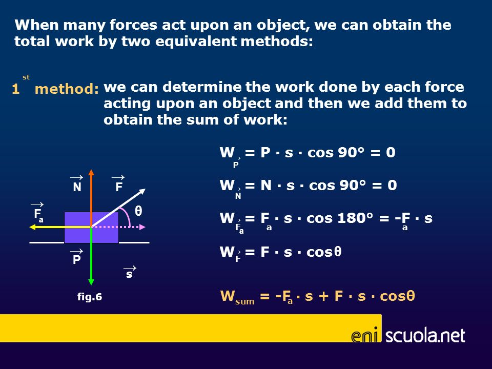 When many forces act upon an object, we can obtain the total work by two equivalent methods: