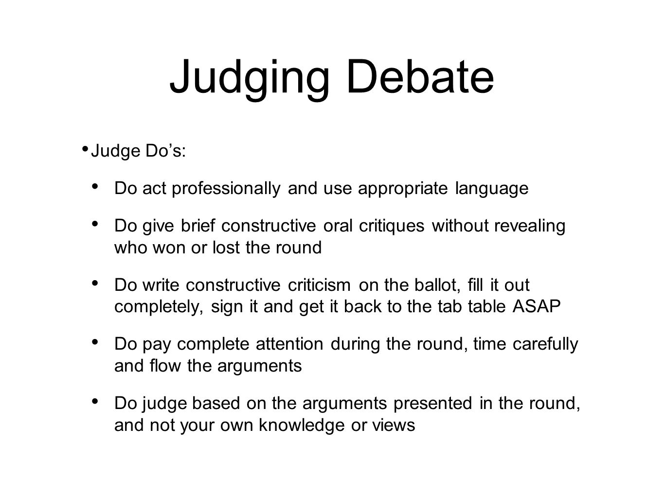 How to Judge a Debate recommend