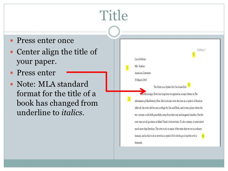 Title Press enter once Center align the title of your paper.