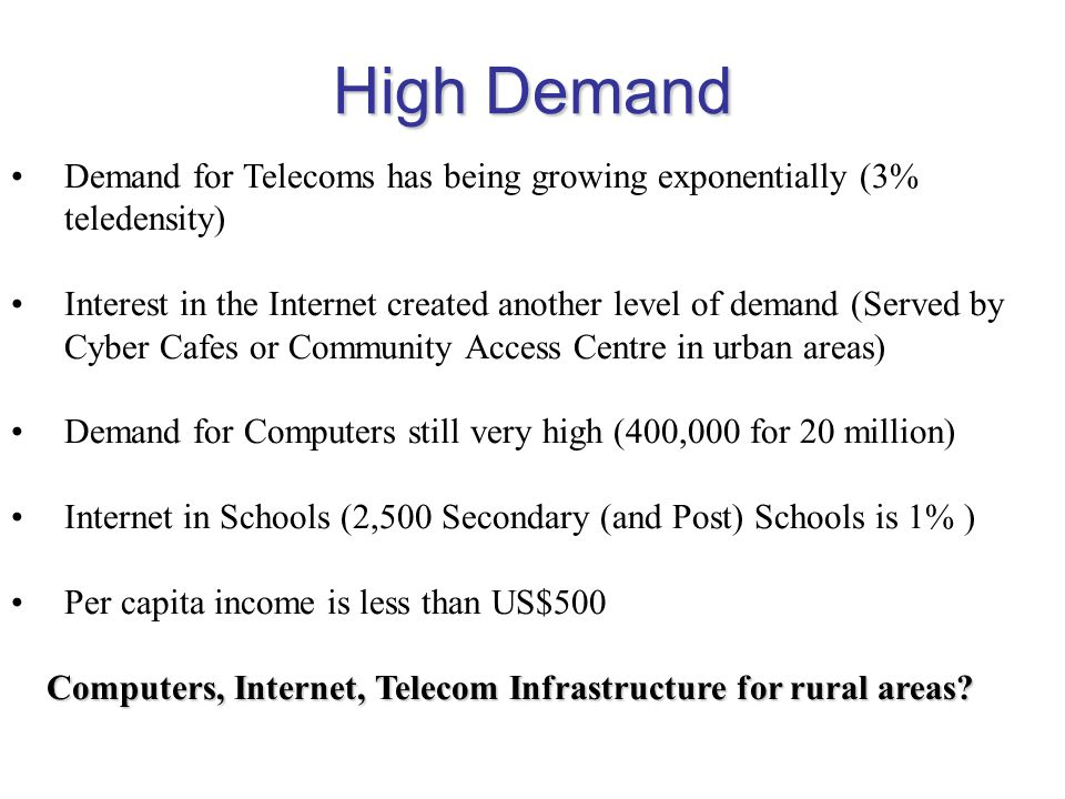 High Demand Demand for Telecoms has being growing exponentially (3% teledensity)