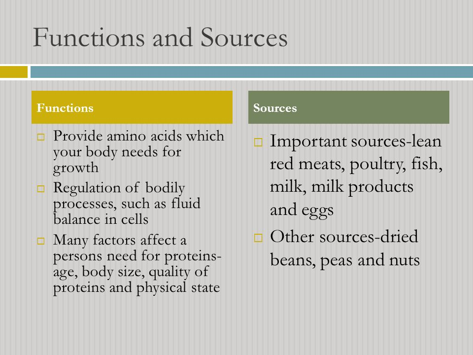 Functions and Sources Functions. Sources. Provide amino acids which your body needs for growth.