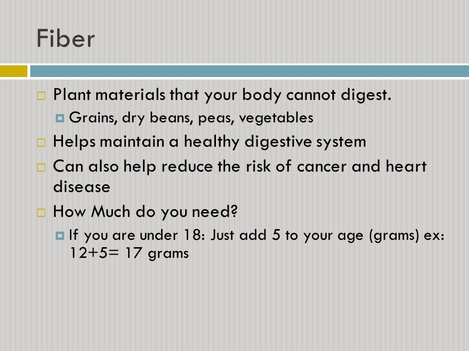 Fiber Plant materials that your body cannot digest.