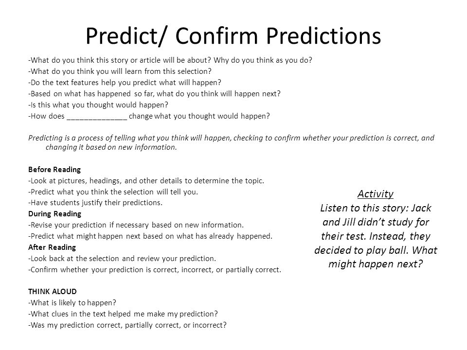 Predict/ Confirm Predictions