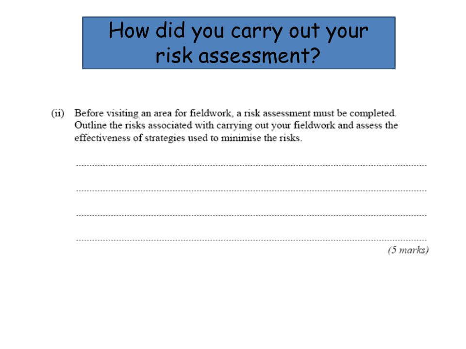 How did you carry out your risk assessment