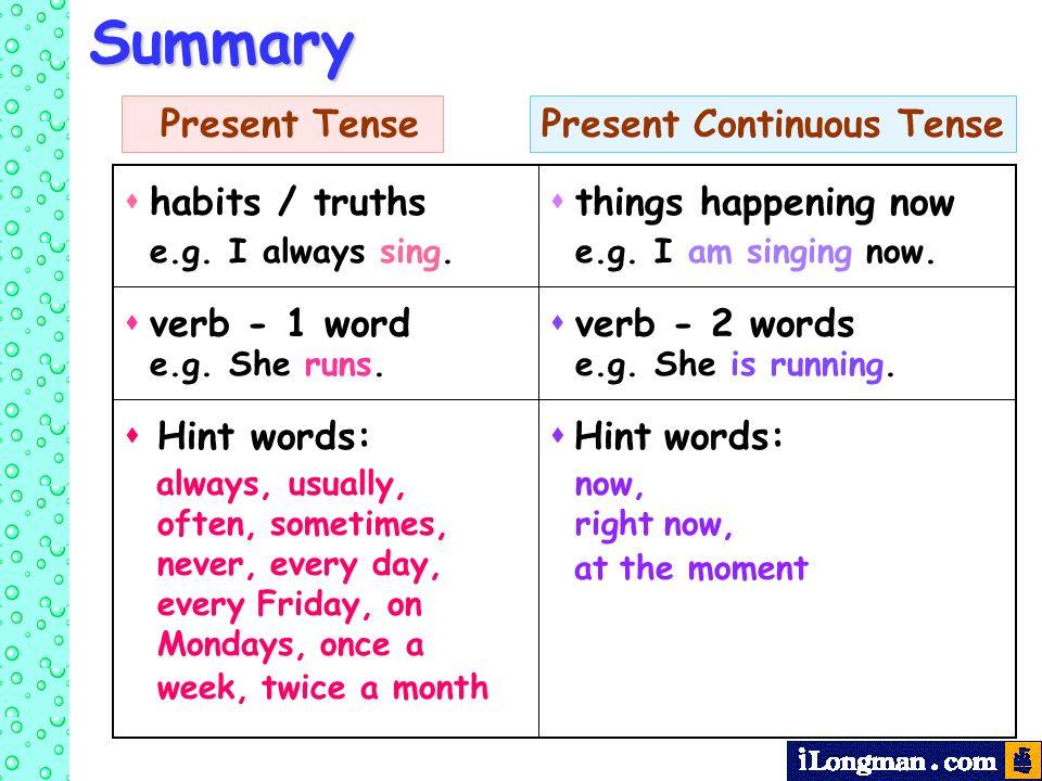 revision  present tense  u0026 present continuous tense