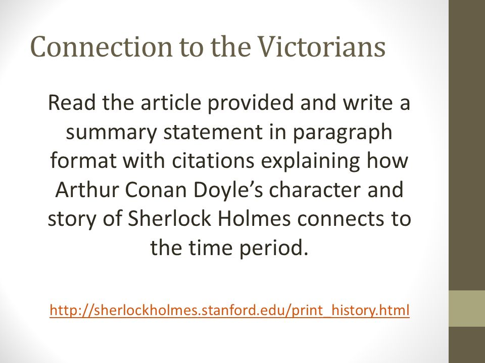 Connection to the Victorians