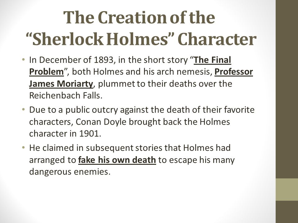 The Creation of the Sherlock Holmes Character