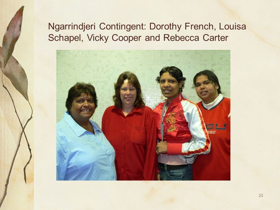 Ngarrindjeri Contingent: Dorothy French, Louisa Schapel, Vicky Cooper and Rebecca Carter