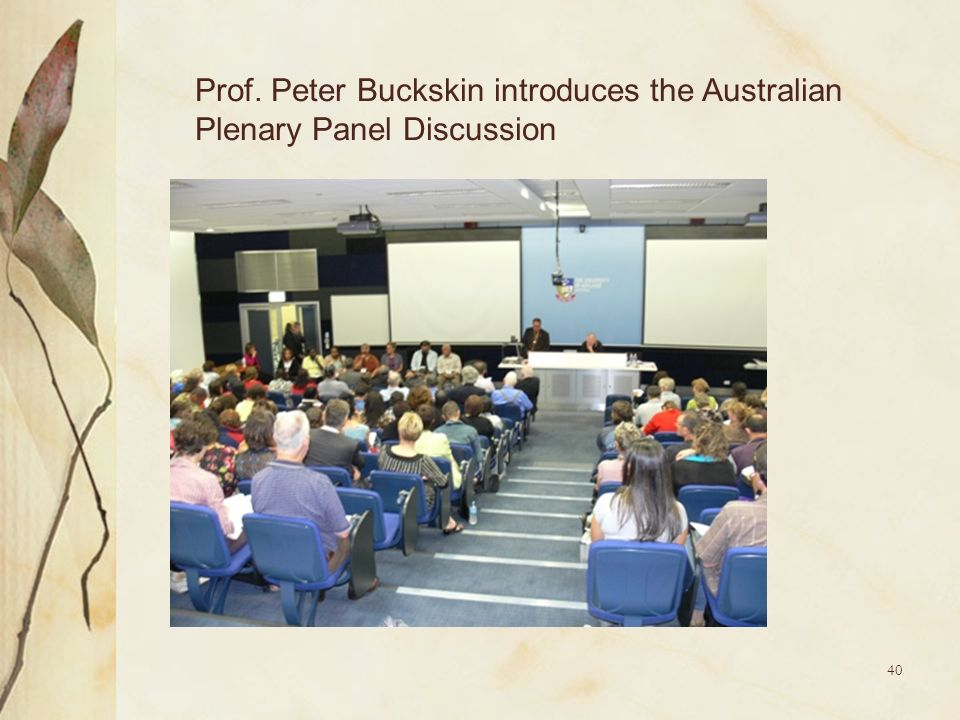 Prof. Peter Buckskin introduces the Australian Plenary Panel Discussion