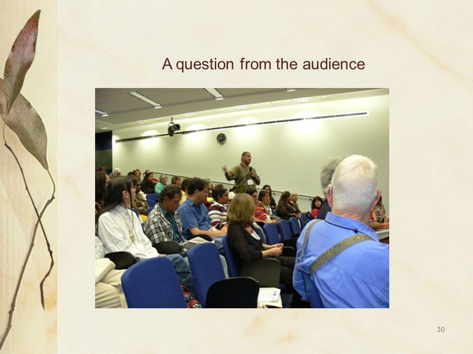 A question from the audience