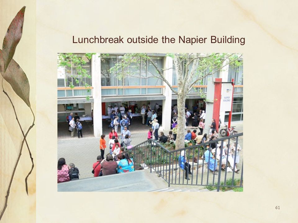 Lunchbreak outside the Napier Building