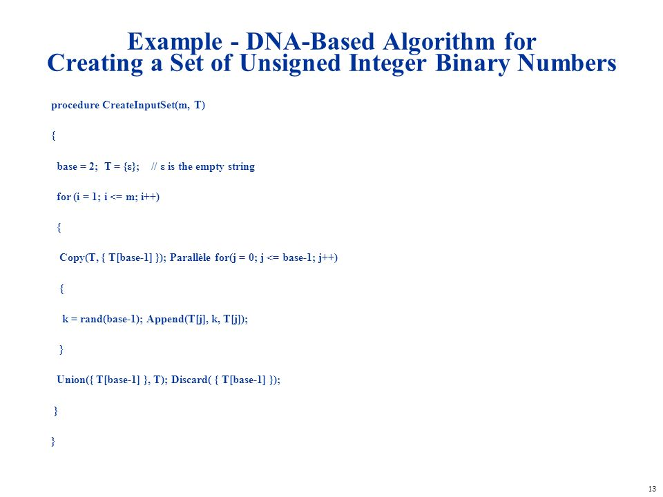 Example - DNA-Based Algorithm for Creating a Set of Unsigned Integer Binary Numbers