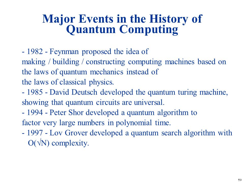 Major Events in the History of Quantum Computing
