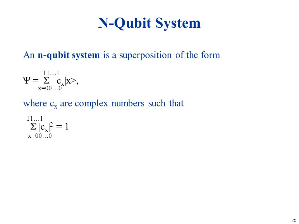 N-Qubit System An n-qubit system is a superposition of the form 11…1