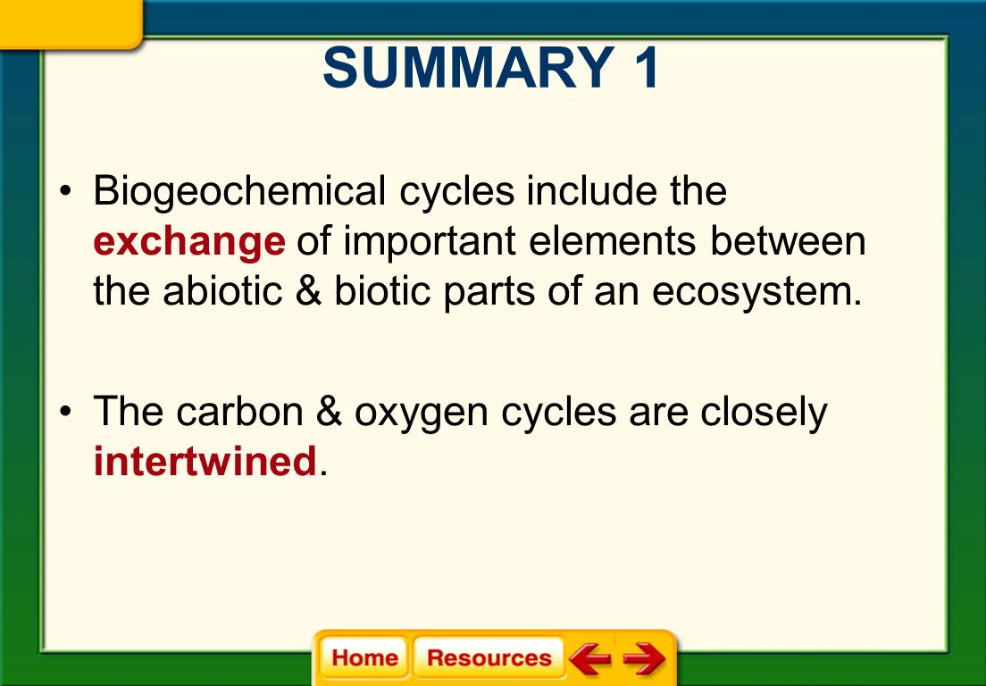 SUMMARY 1 Biogeochemical cycles include the exchange of important elements between the abiotic & biotic parts of an ecosystem.