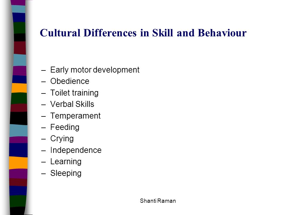 Cultural Differences in Skill and Behaviour