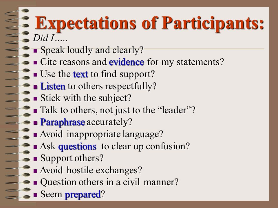 Expectations of Participants: