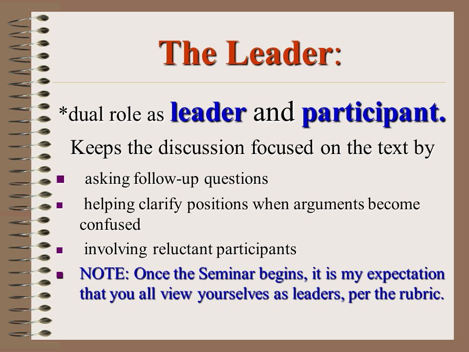 The Leader: *dual role as leader and participant.