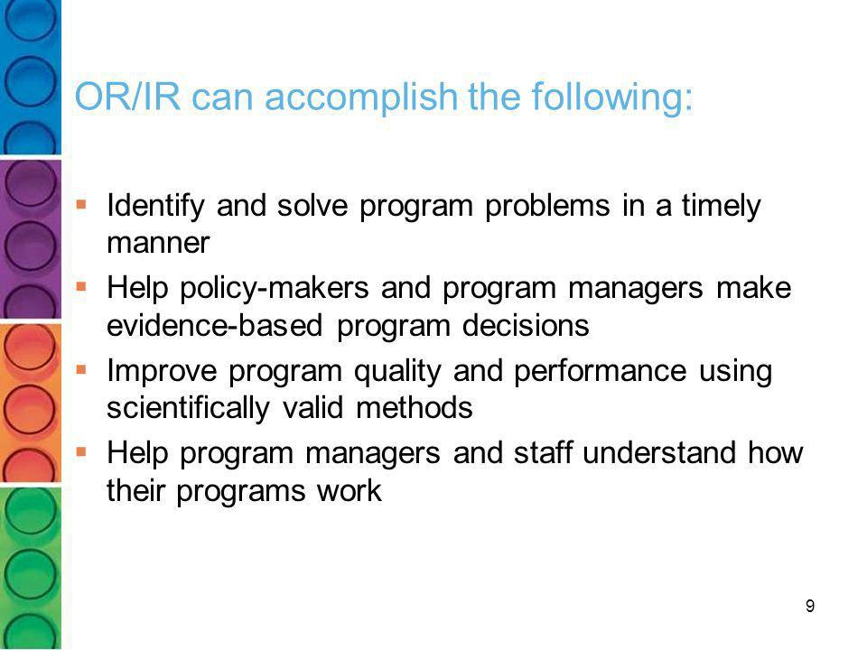 OR/IR can accomplish the following: