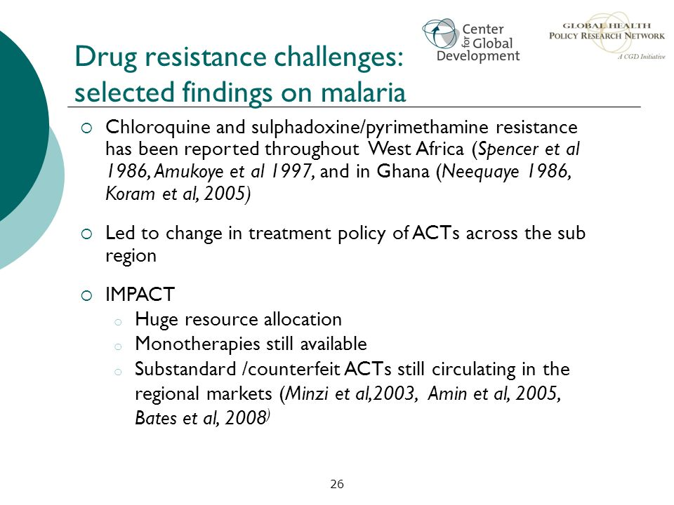 Drug resistance challenges: selected findings on malaria