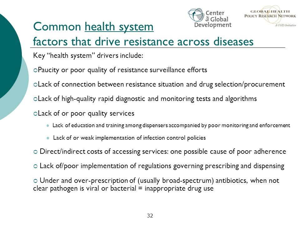 Common health system factors that drive resistance across diseases