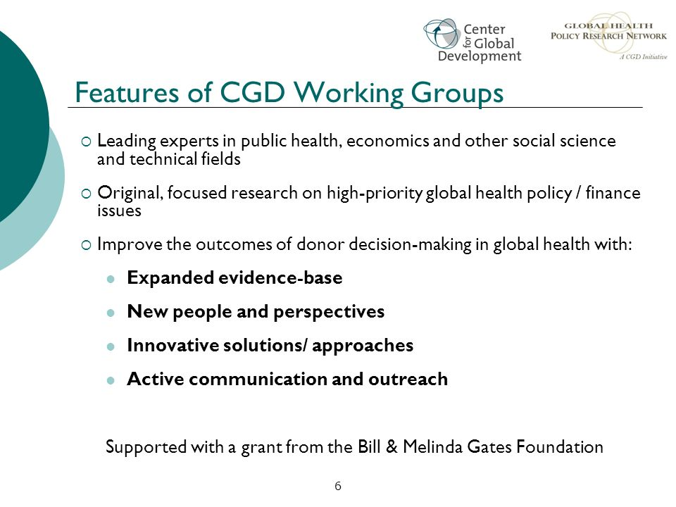 Features of CGD Working Groups