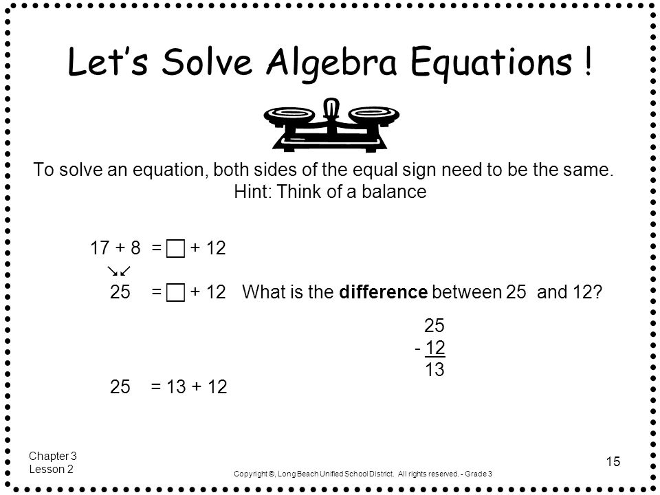 Let's Solve Algebra Equations !