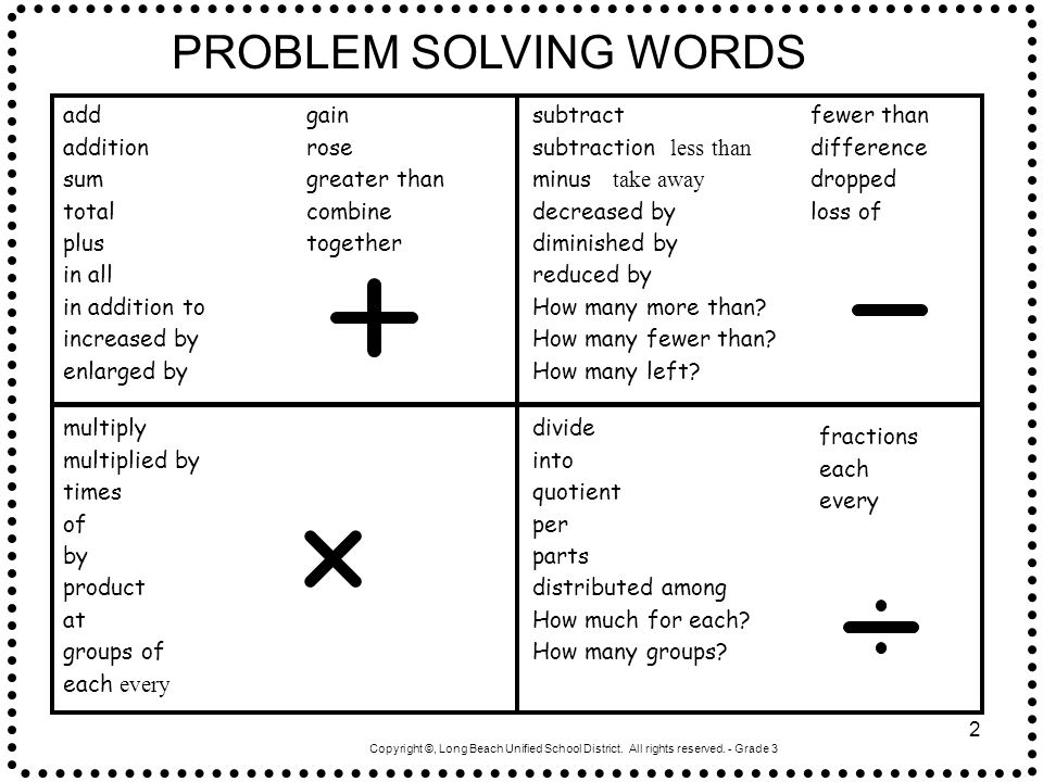 PROBLEM SOLVING WORDS add addition sum total plus in all