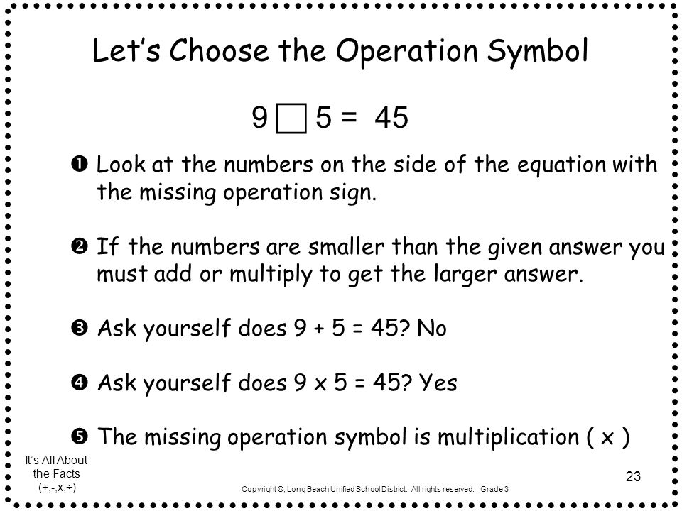 Let's Choose the Operation Symbol