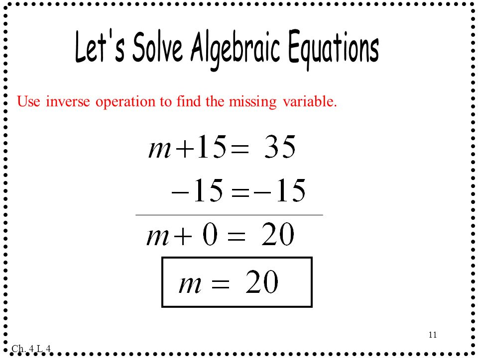 Let s Solve Algebraic Equations
