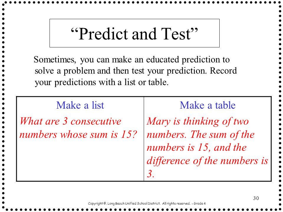 Predict and Test Make a list