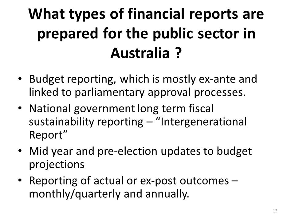 What types of financial reports are prepared for the public sector in Australia