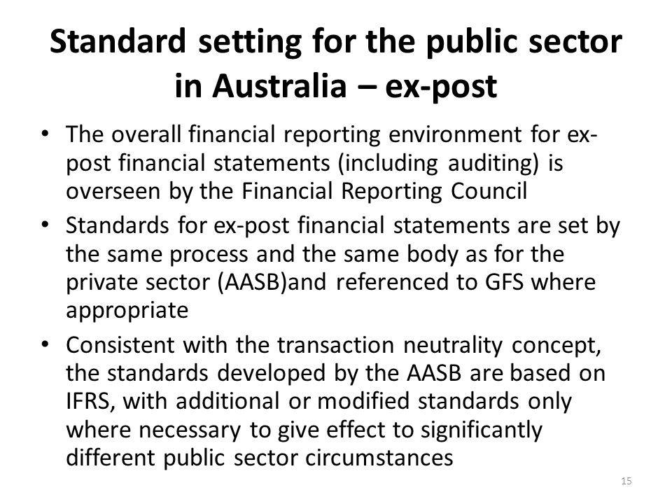 Standard setting for the public sector in Australia – ex-post