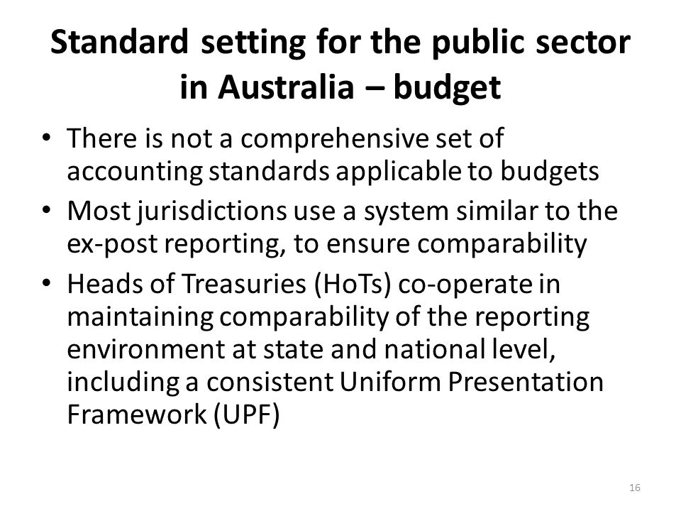 Standard setting for the public sector in Australia – budget