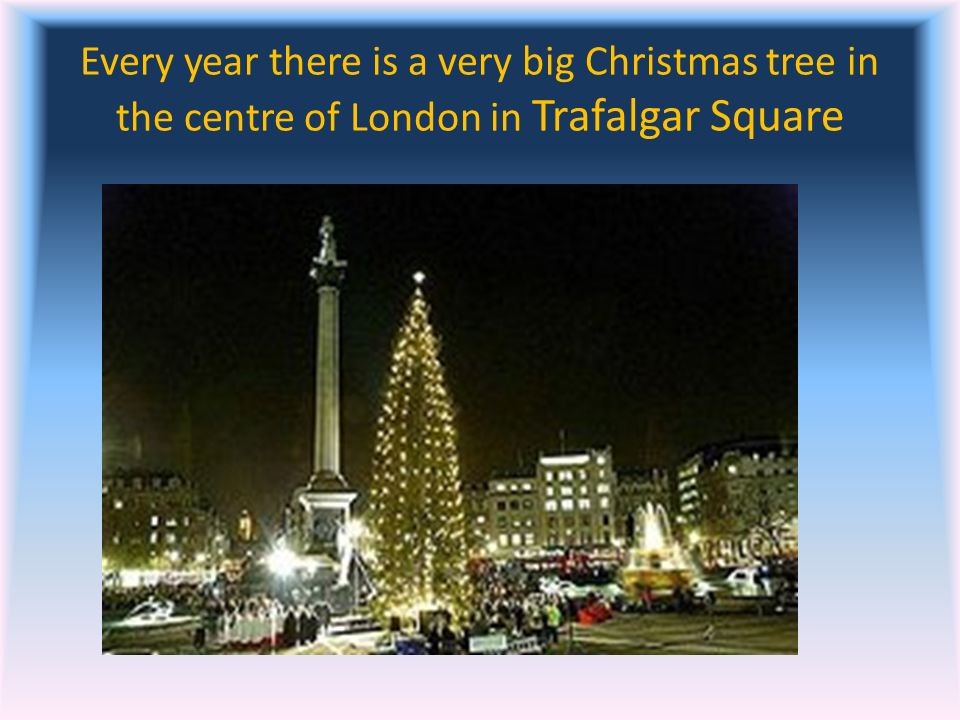 Every year there is a very big Christmas tree in the centre of London in Trafalgar Square