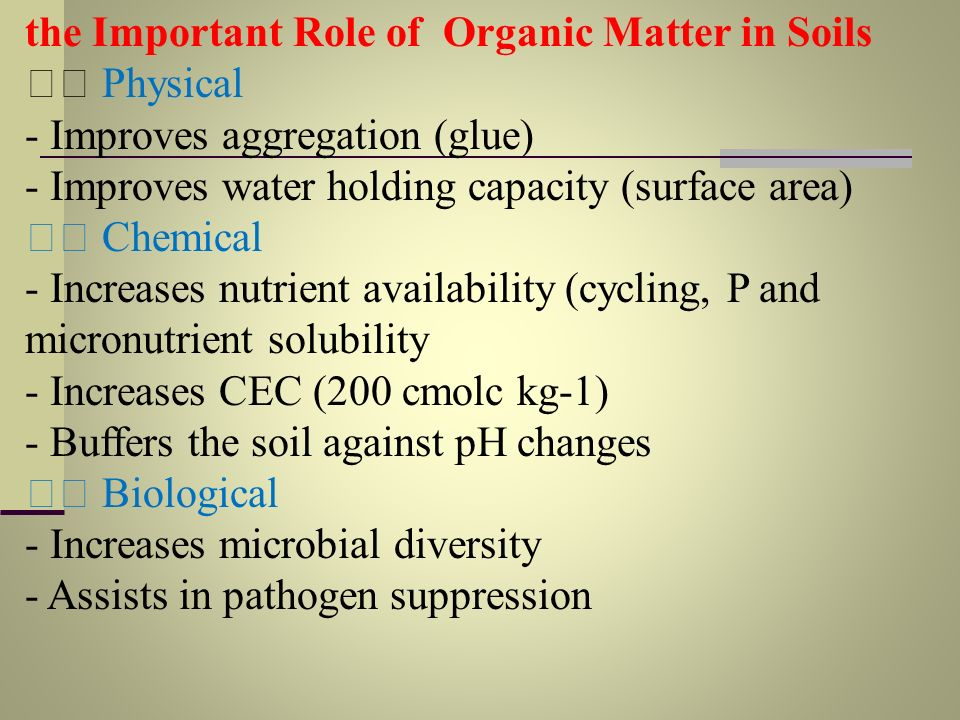 the Important Role of Organic Matter in Soils