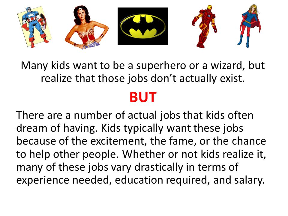 Kids' Top Dream Jobs Ppt Download. Many Kids Want To Be A Superhero Or Wizard But Realize That Those Jobs. Worksheet. Jobs Worksheet Longman At Clickcart.co