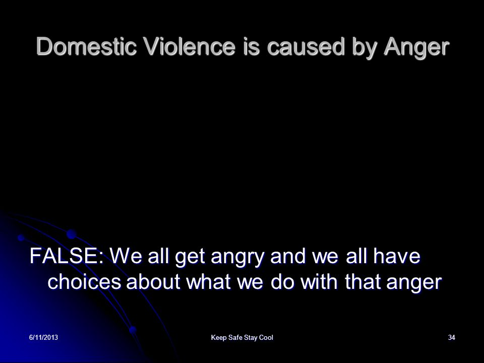 Domestic Violence is caused by Anger
