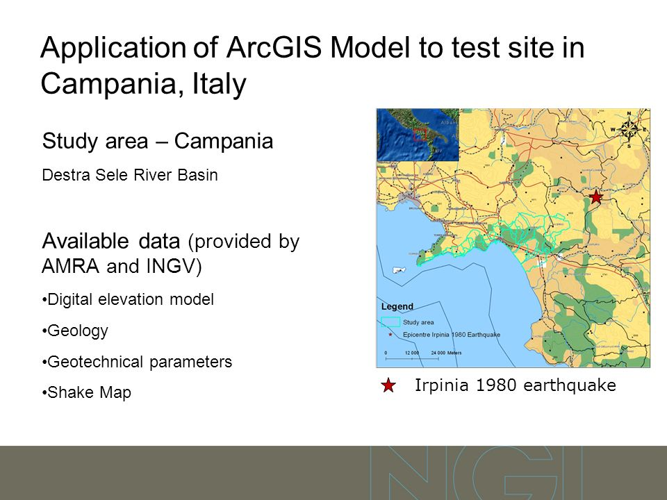 Application of ArcGIS Model to test site in Campania, Italy