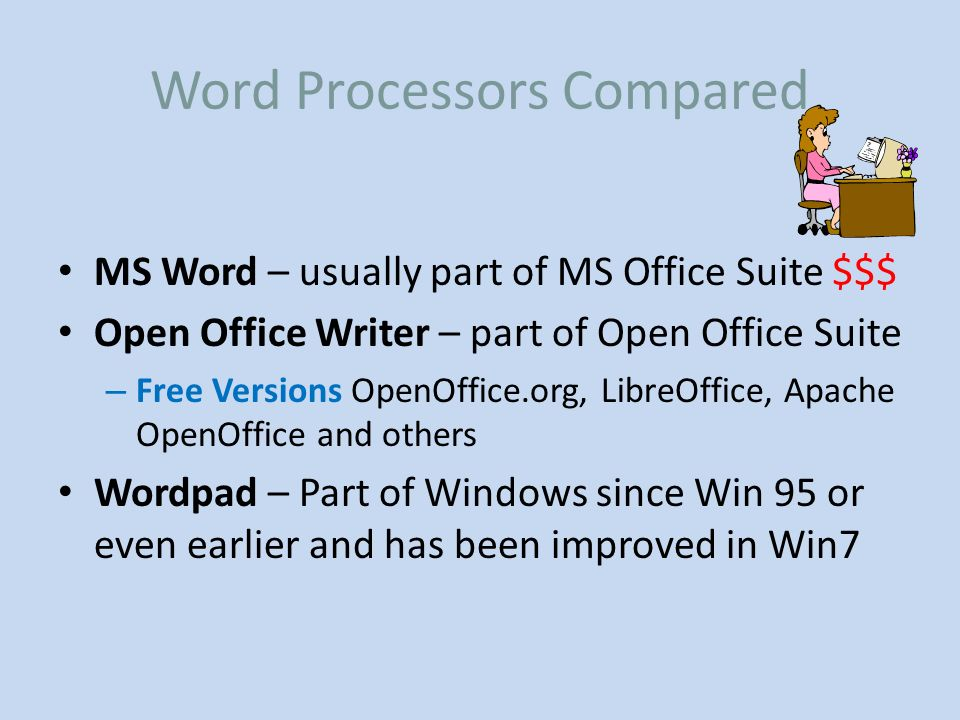 Common Word Processors A comparison - ppt video online download