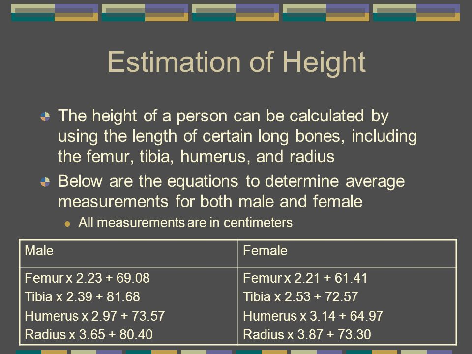 Estimation of Height