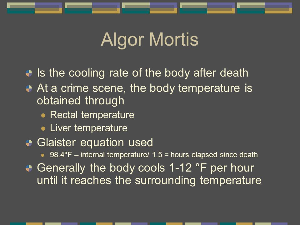 Algor Mortis Is the cooling rate of the body after death