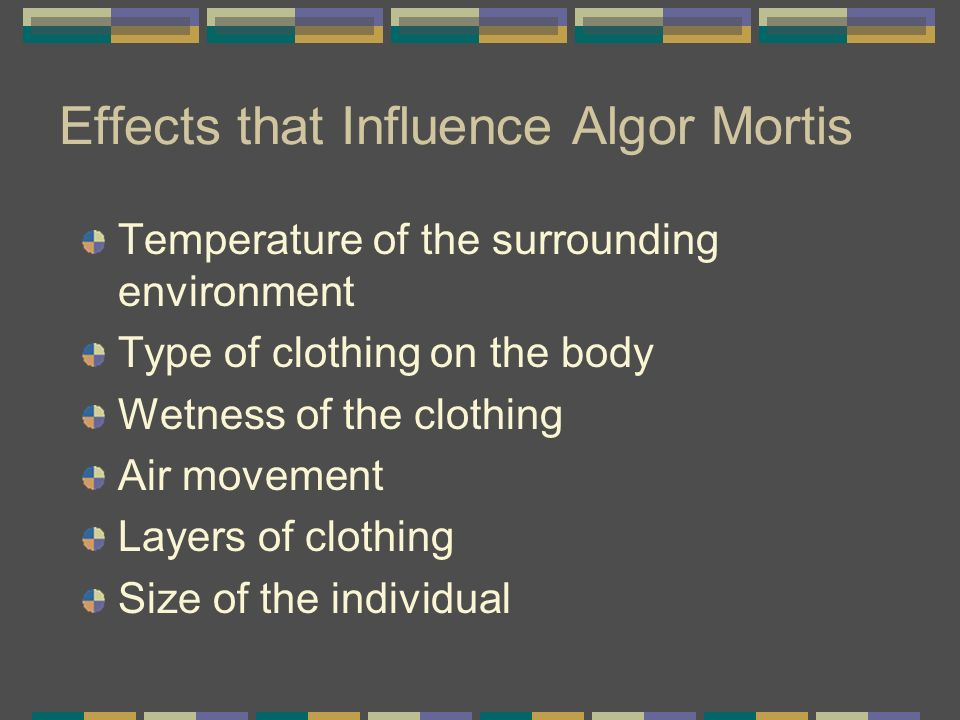 Effects that Influence Algor Mortis