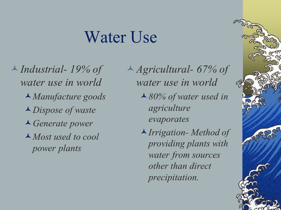 Water Use Industrial- 19% of water use in world