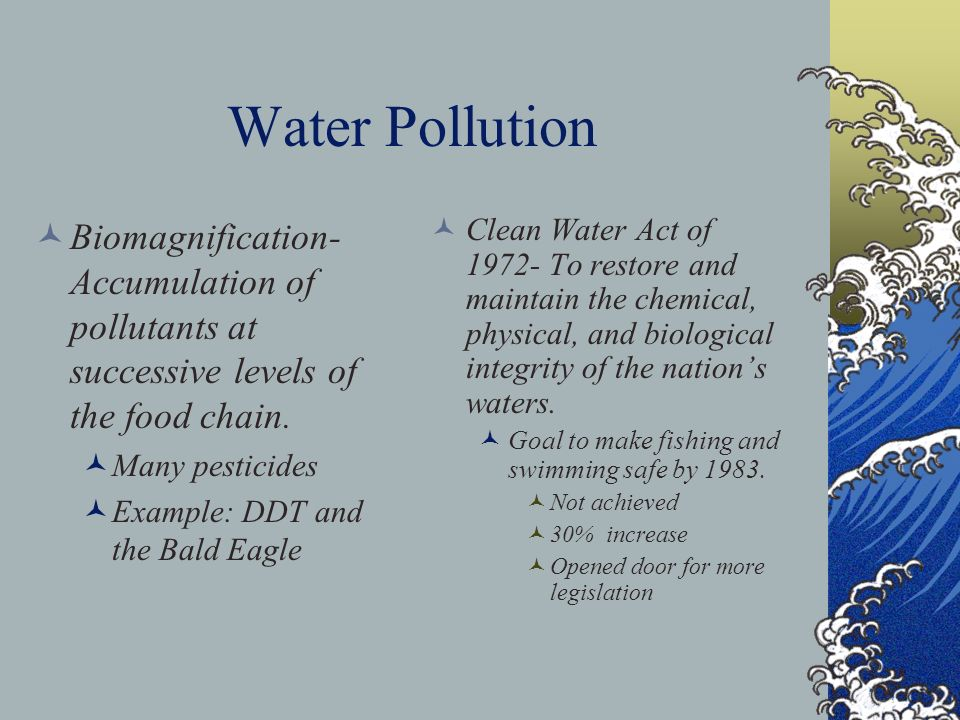 Water Pollution Biomagnification- Accumulation of pollutants at successive levels of the food chain.