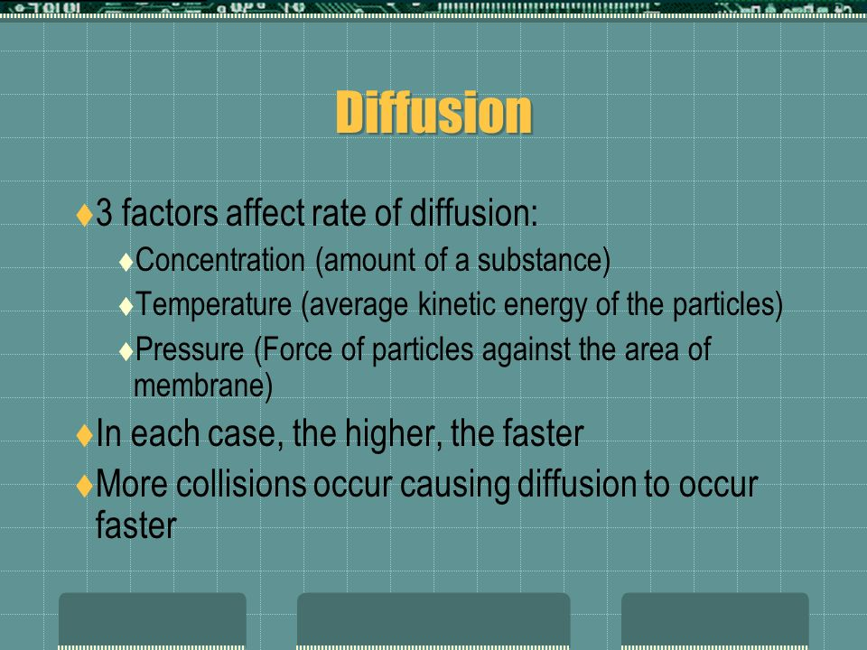 Diffusion 3 factors affect rate of diffusion: