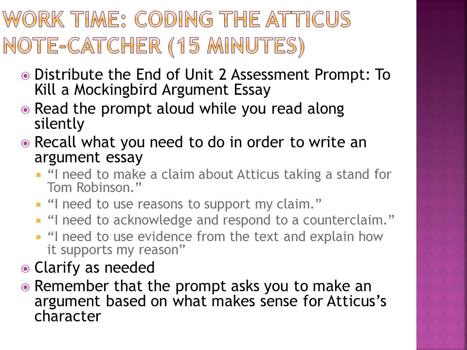 Thesis Statement Essay Example Work Time Coding The Atticus Notecatcher  Minutes Essay On Healthy Eating also English Debate Essay Module A Unit  Lesson  Writing An Argument Essay Evaluating  How To Write An Essay Thesis