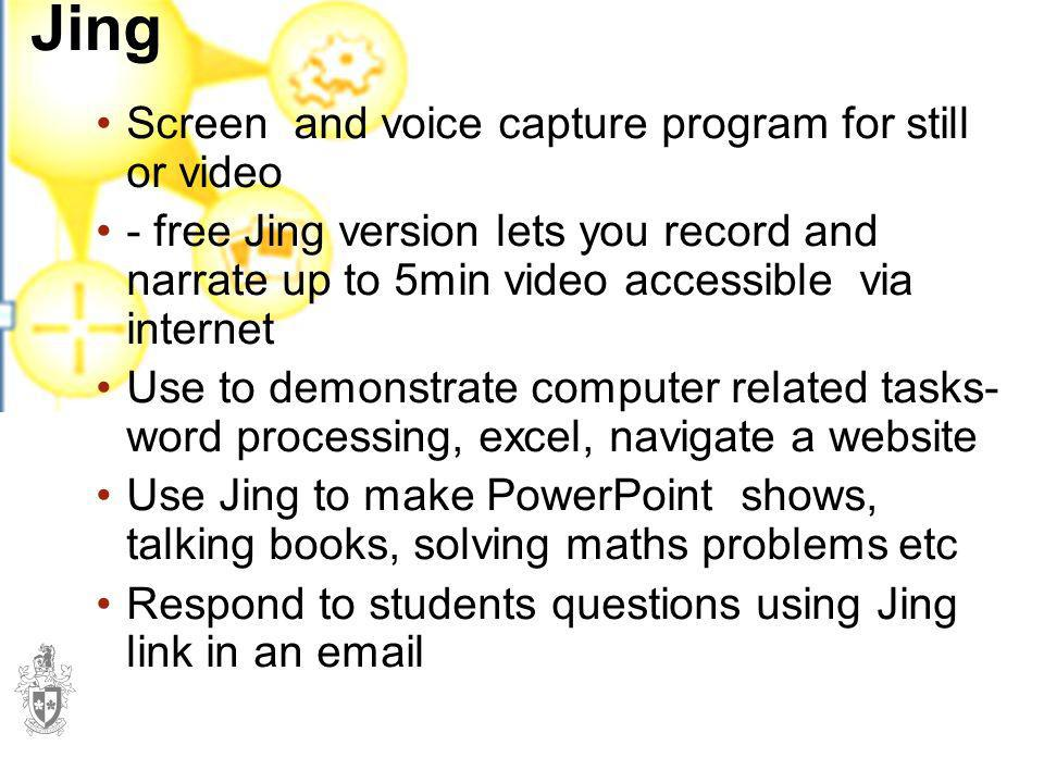 Jing Screen and voice capture program for still or video
