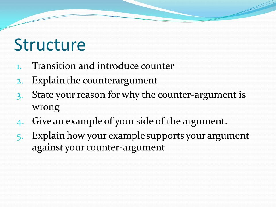 how to start a counter argument paragraph
