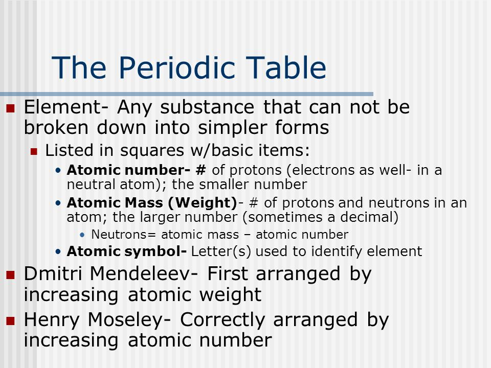 Science ahsge ii 3 the periodic table ppt video online download the periodic table element any substance that can not be broken down into simpler forms urtaz Choice Image